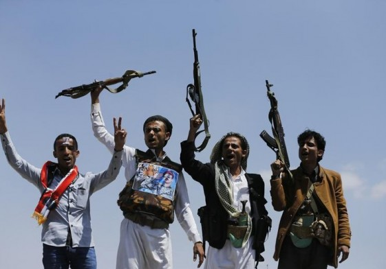 Supporters of Ahmed Ali Abdullah Saleh, the son of Yemen's former President Ali Abdullah Saleh, raise their rifles as they demonstrate in Sanaa