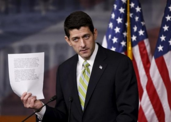 U.S. Speaker of the House Paul Ryan (R-WI) holds a news conference on Capitol Hill in Washington November 19, 2015.  REUTERS/Gary Cameron