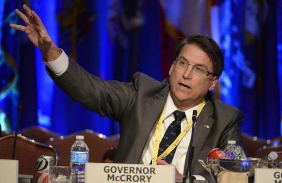 "Republican Governor Pat McCrory of North Carolina makes remarks during a ""Growth and Jobs in America"" discussion at the National Governors Association Winter Meeting in Washington, February 23, 2014. REUTERS/Mike Theiler"